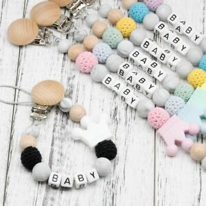 Personalised Name Baby Pacifier Clips Funny DIY Silicone Pacifier Chain BPA Free