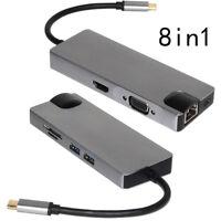 Type C to 4K HDMI VGA Gigabit Ethernet LAN RJ45 Card Adapter USB 3.0 SD TF Card