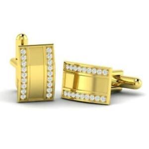 Natural White Topaz Gemstone 14K Yellow Gold Men's Cufflinks SR891