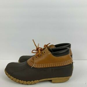 LL Bean Leather Ankle Gum Shoes Duck Boat Waterproof Brown Mens Size 7