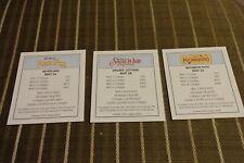 ( 3 ) DISNEY 2001 MONOPOLY PETER PAN,SNOW WHITE,POCAHONTAS DEED CARDS