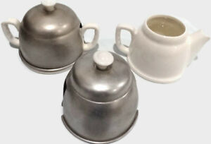 Vintage White Ceramic and Aluminum Cream And Sugar Set