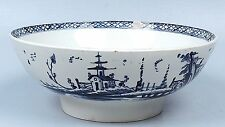 Antique 18th Century English Pearlware Bowl With Blue Pagoda Decoration - Pc