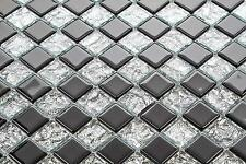 Black And Silver Mix Glass Bathroom & Kitchen Wall Mosaic Tiles Sheet MT0007