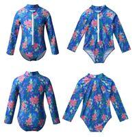 Long Sleeves Swimwear Kids Girls Swimming Bathing Surfing Beachwear Rash Guard
