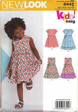 NEW LOOK SEWING PATTERN 6442 GIRLS SZ 3-8 EASY WRAP DRESSES W/ SLEEVE VARIATIONS