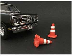 Traffic Cones Accessory Set Of 4 Pieces For 1/18 Scale Models By American