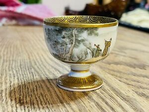 Japanese Meiji (1868-1912) Kaga Kutani - 加賀 九谷 Marked  Sake Cup With Lucky God
