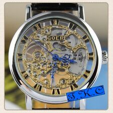 Silver Heirloom Mechanical Wind-up Skeleton Steampunk Black Leather Unisex Watch
