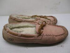 UGG AUSTRALIA Moccasins Women's Size 7 SHEEPSKIN Pink Leather