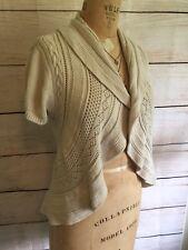 Adorable Beige Boho Crochet Sweater Cable Detailing Size L Shrug Style