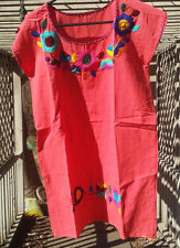 Maya Mexican Dress Above Knee Embroidered Flowers Chiapas Puebla Medium Salmon