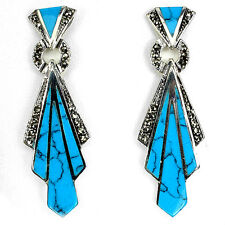 Sterling Silver 925 Genuine Marcasite & Turquoise Art Deco Design Earrings #2