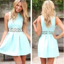 UK 10 Women Fashion Trend Sleeveless Lace Wasit Hollow Summer Pleated Mini Dress