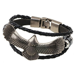 New Unisex Genuine  Leather a Eagle Bracelet Great Valentine's Day Gifts