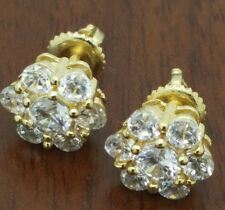 Gold 10mm flower  c z  unisex micro pave screw back stud earrings