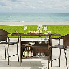 Home Furniture Decor Outdoor Wicker Brown Steel Frame Stacking Bar Chair Set New