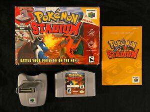 Pokemon Stadium (Nintendo 64, 2000) Transfer Pak Box Manual Complete CIB N64