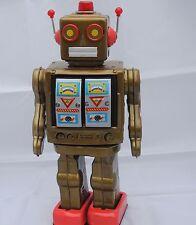 ROBOT ELECTRON doré. Grand robot en tôle sérigraphié.. Superbe boîte. Ht 33 cm