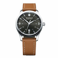 VICTORINOX SWISS ARMY 241475 MEN'S WATCH ALLIANCE BLACK DIAL 40MM LEATHER STRAP