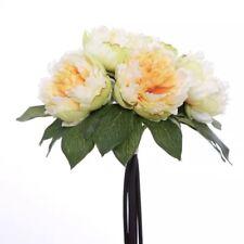Bunch 6 Pale Lemon Artificial Peony Bouquet Faux Silk Floral Bunch Wedding Home