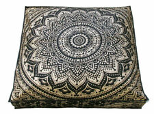 Wonderful Mandala Flower Design Cotton Fabric Square Floor Cushion Cover 35 Inch