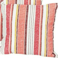 "Coral Stripe Outdoor Indoor Pillow Red Cream Sand Pillows 16"" New"