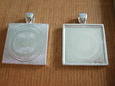 """10 Silver Plated 1"""" Square 25mm Pendant Photo Frame Fit Cameo Cabochon Settings"""