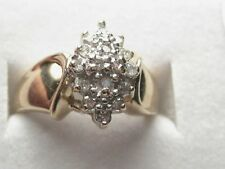 Vintage 10kt Diamond Pointed Cluster Ring, size 7