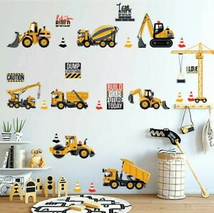 Construction Vehicles Wall Decals Stickers Kids Bedroom Boys