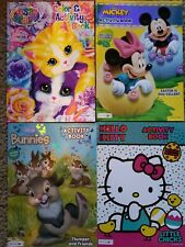 Coloring Activity Book Lot NEW Hello Kitty Thumper Mickey Stickers bendon