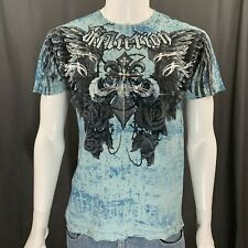 Affliction Distressed Light Blue Angel Wings Graphic Short Sleeve T-Shirt Medium