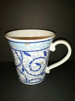 Pfaltzgraff Monaco Mosiac Look, Blue And White & Brown Coffee/ Tea Mug
