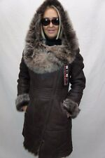 BROWN 100% Long Hair Toscana Sheepskin Shearling Leather Coat Jacket Hood XS-7XL