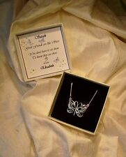 Friendship Gift Sterling Silver butterfly pendant Personalized box  jewellery