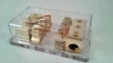 Gold Plated AGU Glass Fuse Block - 3 Position (3) 1/0 GA in, (3) 8 Ga out