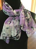 Cejon Floral Rectangle scarf Lavender Grey Black (72 x 22) EUC