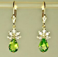 14k solid yellow gold 9x6mm briolette Green Peridot earrings leverback 3.50tcw
