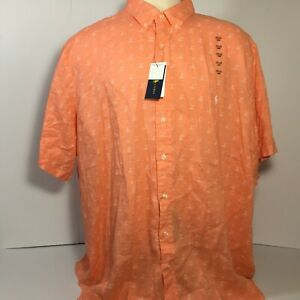 NEW Polo Ralph Lauren Men's 4XB Linen Button Shirt Short Sleeve Orange 4XL Big