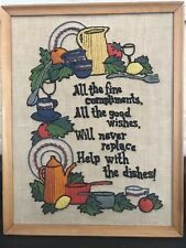 Crewel Needlepoint Embroidered Wall Hanging FRAMED kitchen art