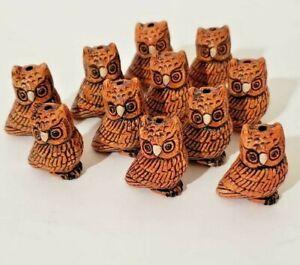 Peruvian Ceramic Brown Barn Owl Bird Animal Beads 25X20 mm Lot of 10 Bulk DIY