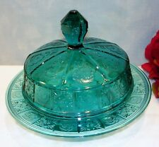Doric and Pansy by Jeannette Ultramarine Depression Glass Covered Butter Dish