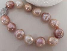 baroque natural 12-13mm south sea multicolor Pearl Bracelet Silver
