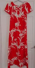 Vtg Hilo Hattie Hawaiian Dress Maxi Long Red White Floral Tropic Muumuu Aloha L