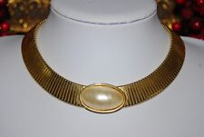 VINTAGE KJL KENNETH JAY LANE COUTURE MABE PEARL OMEGA GOLD TONED CHOKER NECKLACE