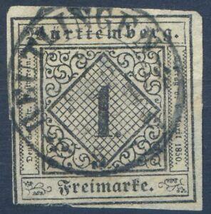 =Württemberg Mi.Nr.1 ya gestempelt tief signiert Thoma BPP - 1500 M€ - selten!=