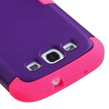 For Samsung Galaxy S III 3 Rubber IMPACT TUFF HYBRID Case Cover Purple Pink