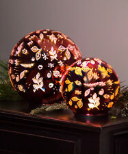 """Stunning 6"""" LED Glass Orb Christmas Decoration Scattered Leaves - Red #8L605"""