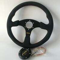 340mm BLK Leather RED Stitch Flat Steering Wheel for OMP SPC hub RaceNDRally