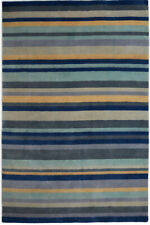 Large Plantation Ainsley Blue Rugs Striped Handmade 100% Wool 240x300cm RRP £900